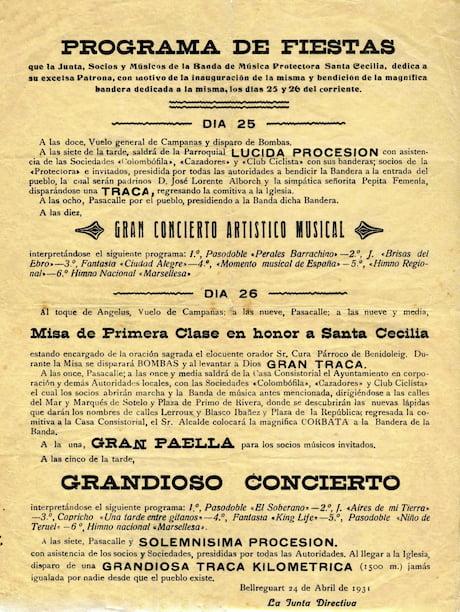 Programa fiestas Banda música Bellreguard 1931